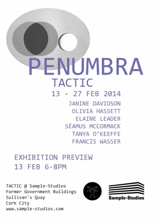 Poster for 'Penumbra' at Tactic, Cork, 2014