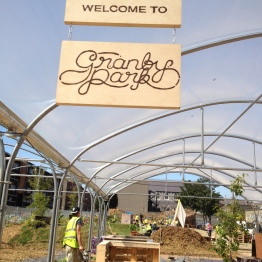 Signs designed & made by Anne Mullee & Jules Hacket for Granby Park, Dublin's pop-up urban park, August 2013
