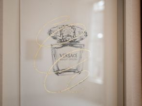 Versace, Magazine perfumes series / Sarah Baker, 2015. Pencil and gold leaf on paper