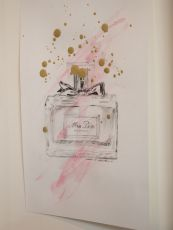 Miss Dior, Magazine perfumes series / Sarah Baker, 2015. Pencil and gold leaf on paper