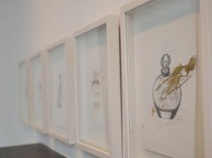 Magazine perfumes series / Sarah Baker, 2015. Pencil and gold leaf on paper