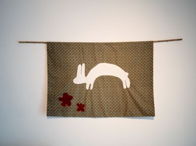 Follow the White Rabbit / Veronica Forsgren, 2015. Appliqué and embroidery on secondhand fabrics