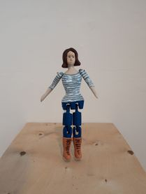 Happiness Machine / Veronica Forgren. 2015 Bonhomme toy made from found wood and acrylic paint, video loop 50'